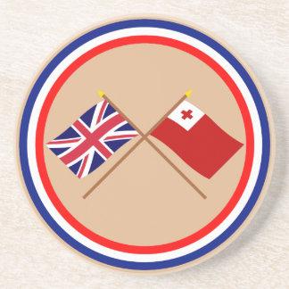 Reino Unido y banderas cruzadas Tonga Posavaso Para Bebida