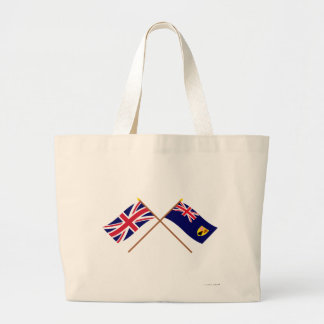 Reino Unido y banderas cruzadas Turks and Caicos I Bolsa Tela Grande
