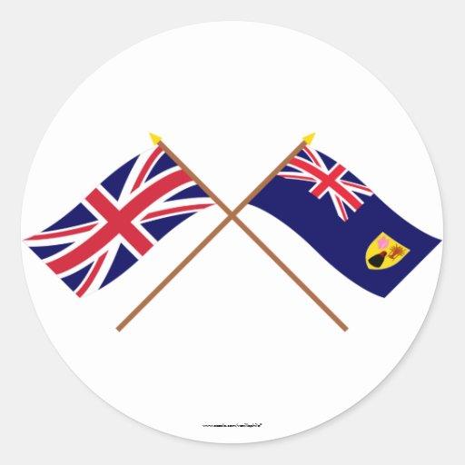 Reino Unido y banderas cruzadas Turks and Caicos I Pegatina Redonda