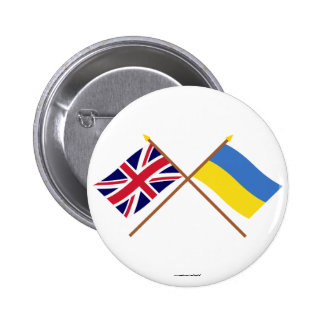 Reino Unido y banderas cruzadas Ucrania Pins