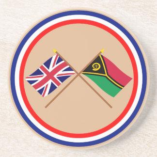 Reino Unido y banderas cruzadas Vanuatu Posavasos Diseño