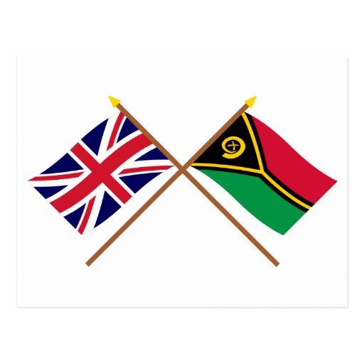 Reino Unido y banderas cruzadas Vanuatu Postal