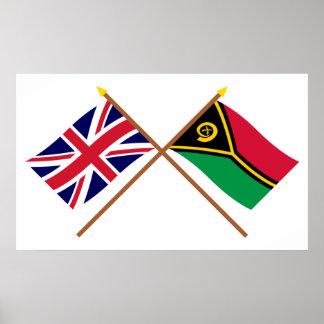 Reino Unido y banderas cruzadas Vanuatu Póster
