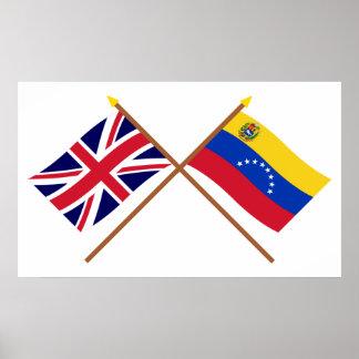 Reino Unido y banderas cruzadas Venezuela Póster
