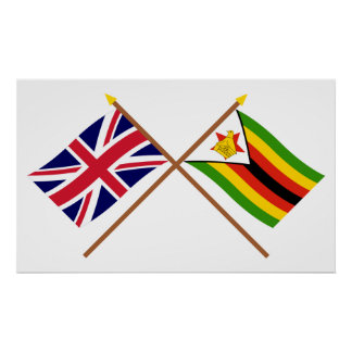 Reino Unido y banderas cruzadas Zimbabwe Póster