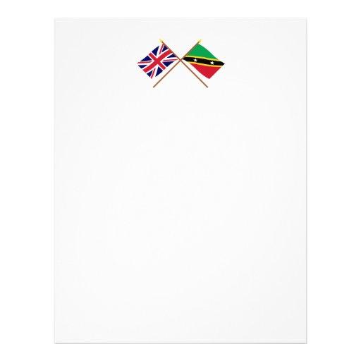 Reino Unido y St San Cristobal y banderas cruzadas Membretes Personalizados