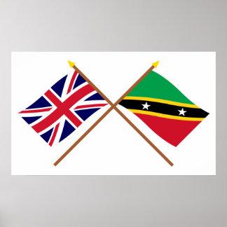 Reino Unido y St San Cristobal y banderas cruzadas Póster