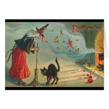 Halloween Themed Reissue Victorian Witch & Cat Halloween Card