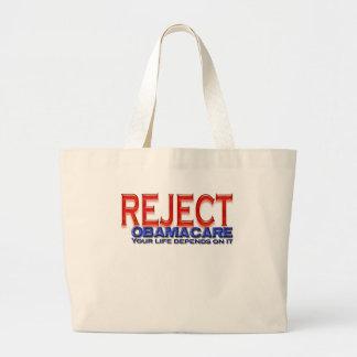 Reject Obama Anti-Obama Designs Large Tote Bag