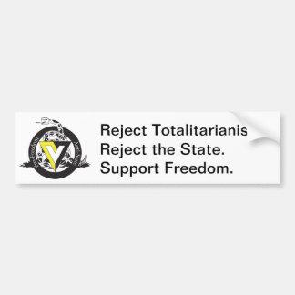 Reject the State Car Bumper Sticker