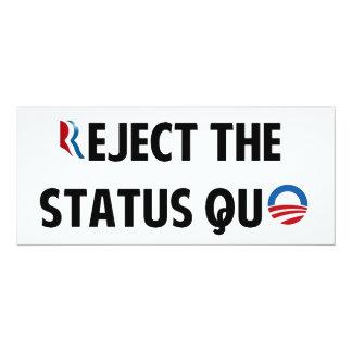 "Reject the Status Quo 4"" X 9.25"" Invitation Card"