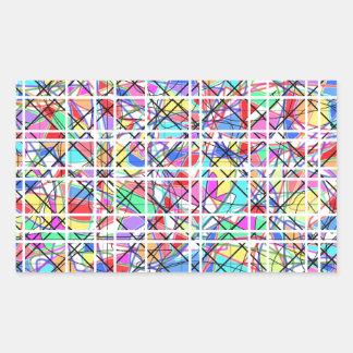 Rejilla abstracta de colores pegatina rectangular