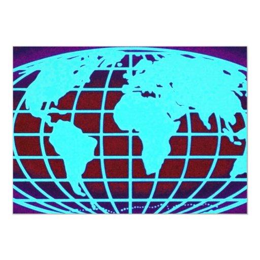 Rejilla azul del globo sobre fondo negro comunicados