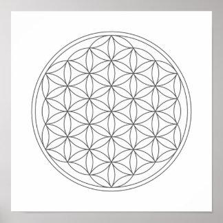 Rejilla cristalina - flor de la vida póster