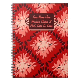 Rejilla de la flor del art déco en el rojo (person cuaderno