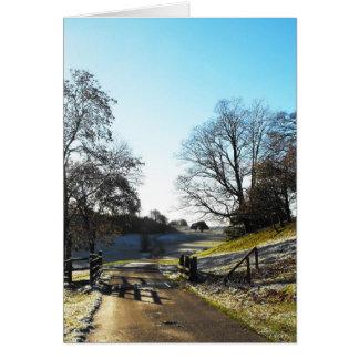 Rejilla del ganado en invierno tarjeta de felicitación