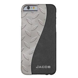 Rejilla elegante del negro del cuero de la placa funda para iPhone 6 barely there
