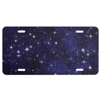Rejilla estrellada del cielo nocturno placa de matrícula