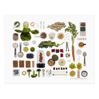 Rejilla sana de la comida en un fondo blanco tarjeta postal