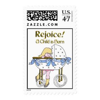 Rejoice a Child is Born - Blue Ribboned Bassinett Postage