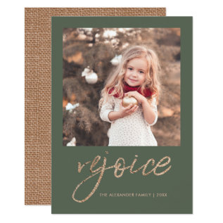 Rejoice And Be Glad Rustic Christmas Photo Card at Zazzle