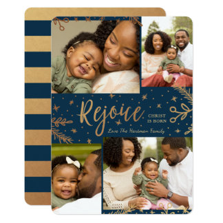 Rejoice | Collage Christmas Card | Faux Foil Blue