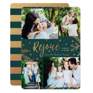 Rejoice | Collage Christmas Card | Faux Foil Green at Zazzle