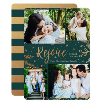 Rejoice   Collage Christmas Card   Faux Foil Green by Orabella at Zazzle