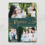 "Rejoice | Collage Christmas Card | Faux Foil Green<br><div class=""desc"">Faux gold foil decorative elements create an elegant effect for these classy four photo holiday cards in green.  Easy to customize with your own photos and text!</div>"