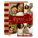 Rejoice | Collage Christmas Card | Faux Foil | Red at Zazzle
