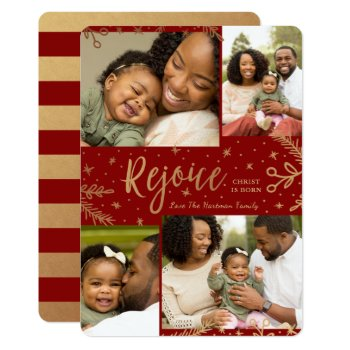 Rejoice   Collage Christmas Card   Faux Foil   Red by Orabella at Zazzle