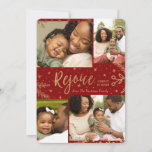 """Rejoice   Collage Christmas Card   Faux Foil Red<br><div class=""""desc"""">Faux gold foil decorative elements create an elegant effect for these classy four photo holiday cards in red.  Easy to customize with your own photos and text!</div>"""