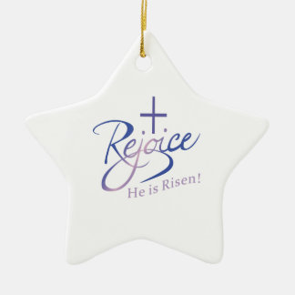 REJOICE HE IS RISEN Double-Sided STAR CERAMIC CHRISTMAS ORNAMENT