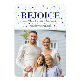 Rejoice Holiday Christmas Photo Flat Card in Ink
