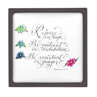 Rejoice in hope inspirational verse typography keepsake box