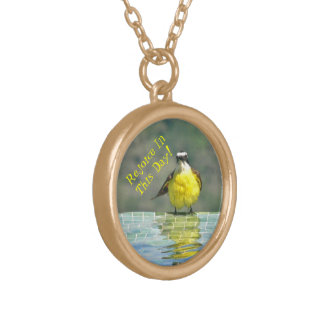 """REJOICE IN THIS DAY"" ( BRIGHT YELLOW BIRD ) GOLD PLATED NECKLACE"