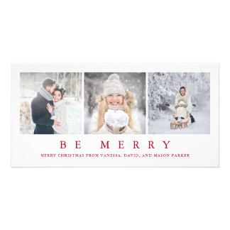 Rejoice   Modern Red Christmas Three Photos Card