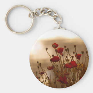 REJOICE Red Poppies Floral Design Key Chain