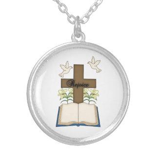 Rejoice-Religious Cross+Bible/Lamb/Doves Round Pendant Necklace