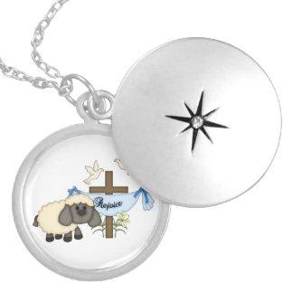 Rejoice-Religious Cross+Lamb/Doves Round Locket Necklace