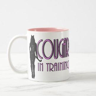 relación divertida de la novedad que fecha el puma taza de café de dos colores