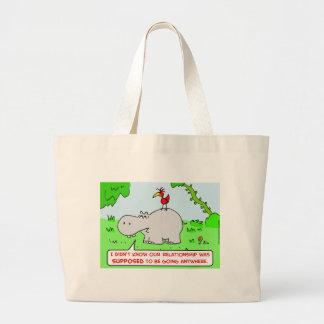 relación que va dondequiera pájaro del hipopótamo bolsa tela grande