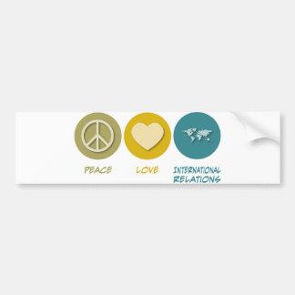 Relaciones internacionales del amor de la paz pegatina de parachoque
