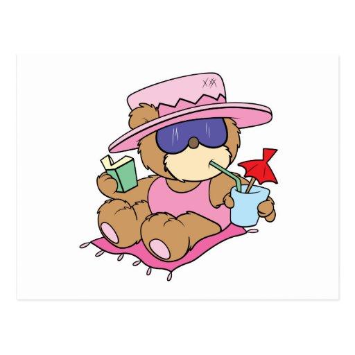 relajación en diseño del chica del oso de peluche tarjeta postal