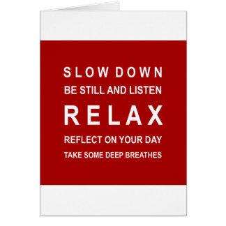 Relaje el rojo y el blanco de motivación del tarjeta de felicitación