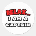 Relájeme… son un capitán pegatina redonda