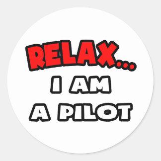 Relájeme… son un piloto pegatinas redondas