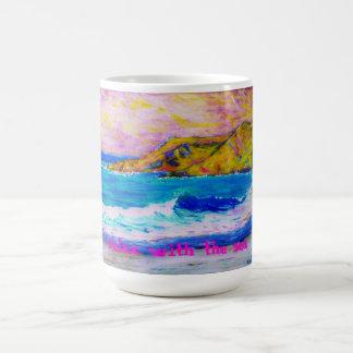 relájese con el mar taza