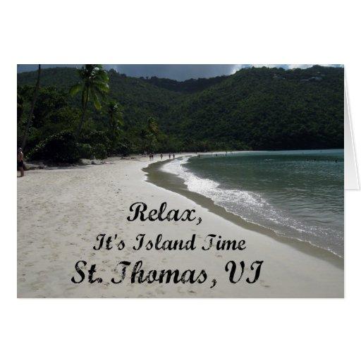 Relájese, él es tiempo de la isla, St Thomas VI Tarjeta De Felicitación