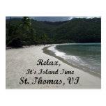 Relájese, él es tiempo de la isla, St Thomas VI Tarjeta Postal